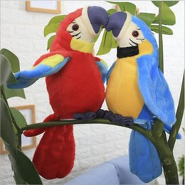 venda por atacado Plush elétrica de brinquedo Papagaios eletrônico de gravação de Aprendizagem Presente de Natal Talking Parrot Torcendo Fan Asa brinquedos para bebês engraçado