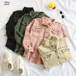 Studded jacketS online shopping - Frayed Solid Denim Jacket Spring Studded Womens Long Sleeve Womens Jackets Large Size Outerwear Irregular Jeans Jacket Streetwear