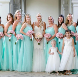 $enCountryForm.capitalKeyWord Australia - 2019 Fashion Light Turquoise spaghetti Bridesmaids Dresses Plus size Beach Tulle Cheap Wedding Guest Party Dress Long Pleated Evening Gowns