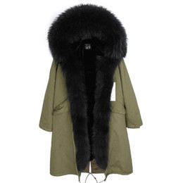 Parka For Woman Black Australia - Classic black furs X-Long Removable velvet furs Liner parkas with Real Raccoon fur collar and placket over the knee for women or men