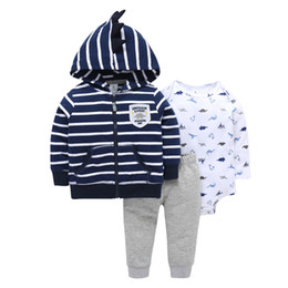 long suits for girls UK - Hooded Coat Stripe+long Sleeve Romper+pants For Baby Boy Outfit 2019 Autumn Spring Newborn Girl Clothes Set Infant Clothing Suit J190427