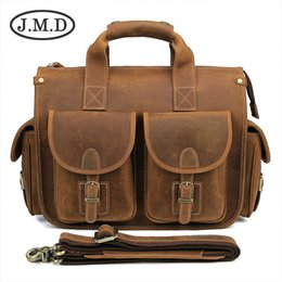 hard briefcases UK - Hot Selling Genuine Vintage Crazy Horse Leather Laptop Briefcase Bag Hand bags High Quality 7106