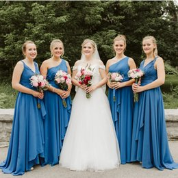 Chinese  Western Country Chiffon Cheap Bridesmaid Dresses One Shoulder Floor Length Maid Of Honor Forest Wedding Party Wear Cheap Hot Sale BM0228 manufacturers