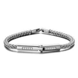 pure silver bracelets men UK - RUIMO Crystal Connector Safty Clasp Silver Stainless Steel Pure 5mm Steel Wire Jewelry Bracelet for Men and Women DIY
