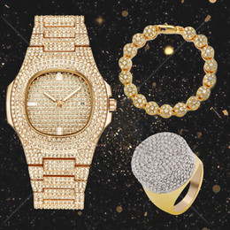 Tennis earrings online shopping - Lureen Full Iced Out Quartz Watch Hip Hop Tennis Bracelet CZ Ring Men Gold Color Combo Set Jewelry Party Gift W0001