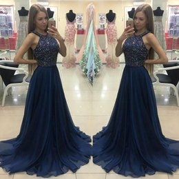 Formal Evening Gowns Pictures Australia - Navy Blue Prom Dresses 2019 A Line Jewel Neck Crystals Chiffon Sweep Train Evening Special Occasion Dresses Formal Gowns DP0306