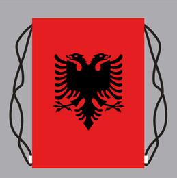Backpack flag print online shopping - 30 cm Drawstring Bag Kids Backpack with Albania flag Gift Bags School Travel Storage Bags foorball fans bag