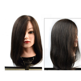 real hair heads Australia - Coolhair4u Mannequin Head Salon 100% Real Hair Natural Black Hair Training Hairdressing Practice Cosmetology Mannequins Hair