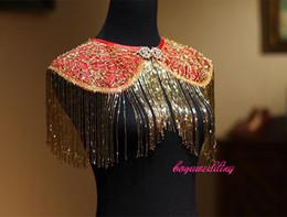 $enCountryForm.capitalKeyWord Australia - TJ061 Red Gold Silver Luxury Bridal Jewelry Set Shoulder Necklace for wedding evening party dress