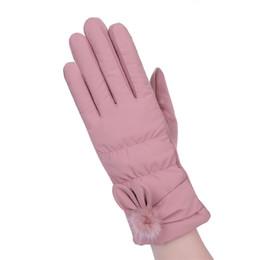 4c64490caab Women Rabbit ball Wool Gloves Fashion Opening Design Winter Ladies Gloves  New Trendy Elegant Soft Black Mittens