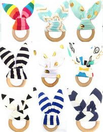 Free ear rings online shopping - Bunny Ear Infant Baby Teethers Teething Ring Fabric and Wood Nursing Teethers Crinkle Material Inside Sensory Toy Soothers Styles