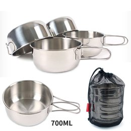 $enCountryForm.capitalKeyWord Australia - Outdoor folding set bowl 304 stainless steel hiking camping 700ml large 4 piece set cup folding bowl combination tableware