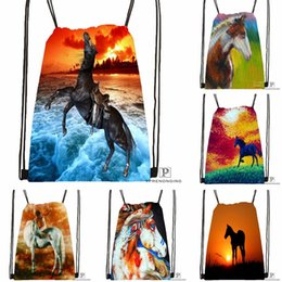 Backpack Kids Leather Satchel Bag Australia - Custom Dark Horse Sunset Drawstring Backpack Bag Cute Daypack Kids Satchel (Black Back) 31x40cm#180531-04-58 #34070