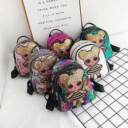 $enCountryForm.capitalKeyWord Australia - 2019 Hot Lovely Dolls Sequin Backpack Cute Cartoon Storage Bags Children Girls Backpacks Hop-Pocket Christmas Gift Kids Toys Bag M132F
