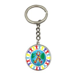 $enCountryForm.capitalKeyWord Australia - Autism DIY Silver Chain Keychain Handmade Glass Dome Pendant Key Ring Car Key Chain Best Gift For Friend