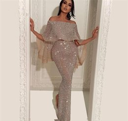 Holiday Evening Gowns Floor Length Australia - Sequins Evening Dresses Mermaid Floor Length Celebrity Holiday Women Wear Formal Party Prom Gowns Custom Made Plus Size