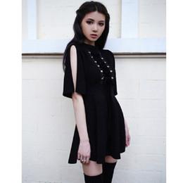 $enCountryForm.capitalKeyWord Australia - Decorated Ribbon Gothic Women Black Dress Japanese Harajuku Punk Cross Straps Tie Slim A Line Dress