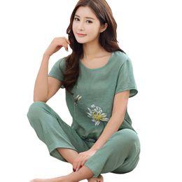 $enCountryForm.capitalKeyWord Australia - Chinese Green Women Cotton Pajamas Set Nightgown Print Floral Pyjamas Suit 2 Pcs Sleepwear Summer Home Clothes M-xxl