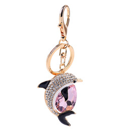 Pink Car Set UK - New fashion car hang decoration girl fish key chain set drill little dolphin key chain case hanging pieces