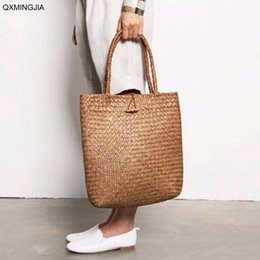 knitting tote bags wholesale NZ - Women Fashion Knitting Straw Handbags Casual Retro Vintage Tote Ladies Casual Large Capacity Shoulder