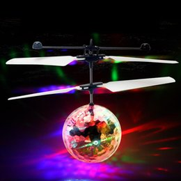 Wholesale Toys Helicopter NZ - RC Flying Ball Toy Drone Helicopter Built-in Shinning LED Lighting Induction Colorful Ball Toy for Adults Kid Christmas Holiday Gift