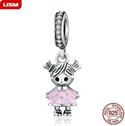 pendant couple boy girl NZ - New 100% 925 Sterling Silver Couple Little Girl & Boy Pendant Charm fit Girls Charm Bracelet DIY Jewelry