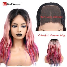 rainbow human hair Canada - Wignee 4*4 Lace Closure Rainbow Color Virgin Brazilian Human Hair Wigs For Black Women Pre-plucked Hairline Swiss Lace Human Wig