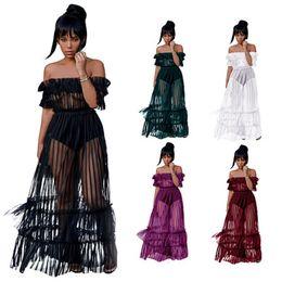 $enCountryForm.capitalKeyWord NZ - Nightclub long skirt word shoulder sexy mesh gauze dress 2019 Europe new lace perspective skirt plus size women clothing S-3XL