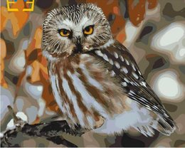 Pink Decorative Paintings Australia - 40x50cm by numbers Figurine decorative painting on the wall on canvas, oil paint Coloring by numbers Drawing Owl on the tree