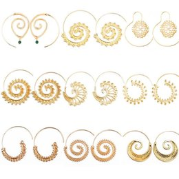 $enCountryForm.capitalKeyWord Australia - pretty Round Spiral Earrings Beautiful Beach Jewelry Personality Bohemia Ethnic Exaggerated Drop Earrings Love Heart Whirlpool Gear Earrings