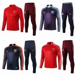 Panting kit online shopping - Survetement Barcelona Tracksuit Kids Mens Soccer Training Suit Top Quality Long Sleeve PRE MATCH Football Winter Pants kit A768