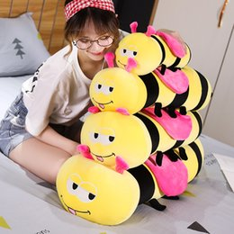 plush toy bee wholesale NZ - 45-90cm Cute Little Wasp Plush Toy Cotton Bee Kawaii Animal Doll Stuffed Pillow Soft Sleeping Doll Bed Sofa Decoration