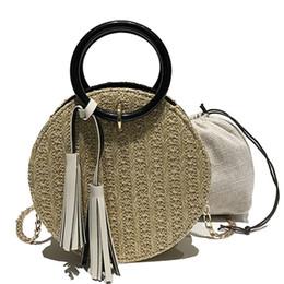 $enCountryForm.capitalKeyWord Australia - Women Handbag Designer Straw Bag Female Woven Rattan Knitted Handbag Tassel Round Women Shoulder Bag Chain Top-handle Fashion