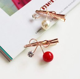 Butterfly Fashion Hair Clip Australia - Korean version of fashion hair decoration zircon cherry hairpin butterfly knot infatuated with you side clip
