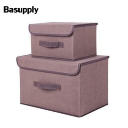 Woven Folding Box Australia - BASUPPLY 2 Sizes Non-woven Fabric Folding Storage Box With Cap Clothes Sock Toy Snacks Sundries Cosmetics Organizer