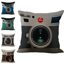 camera drop shipping UK - Camera Lens pattern Pillow Case Cushion cover Linen Cotton Throw Pillowcases sofa Bed Car Decorative Pillow covers drop shipping