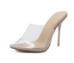 f5671e8f386b Dress Transparent Heel Sandals Slippers Pumps 2019 New Pvc Jelly Sandals  Crystal Open Toed Sexy Thin Heels Crystal Women Shoes