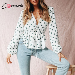 polka dot vintage shirt NZ - Conmoto Polka Dot Women Tops And Blouse White Chiffon Peplum Ladies Shirts Casual Vintage V Neck Lace Up Long Sleeve Blusa Mujer J190610