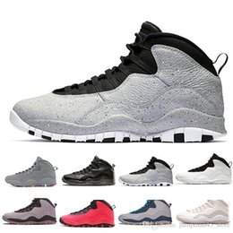 mens sports trainers Australia - Wholesale 10 10s Cement Mens Basketball Shoes Orlando I m back 10s Tinker GS Fusion red venom Mens designer trainers sports shoes 7-13