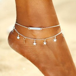Yoga woman barefoot online shopping - Multi Layer Star Pendant Anklet Foot Chains New Summer Yoga Beach Bohemian Leg Bracelet Charm Sand Barefoot Sandals Anklets Jewelry Gift new