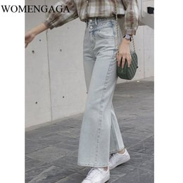 legging korea Australia - WOMENGAGA NEW Fashion Womens Light Blue Vintage High Waist Korea Wide Leg Pants Girl Female Pants Jeans Q008
