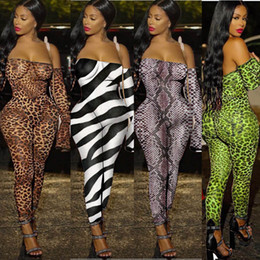 zebra print jumpsuit Australia - Women sexy off shoulder jumpsuits leopard Zebra snake print long sleeve pants rompers strapless bodysuit Nightclub Clubwear party clothes