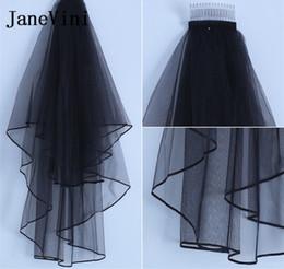 Black Veils Australia - JaneVini 2019 Black Two Layers Wedding Veils with Comb Soft Tulle Women Brides Bridal Veil Short Ribbon Edge Welon Bruidssluier