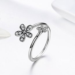 86a225865 Spot Pandora styleCute Pink Enamel flower 925 Sterling Silver Ring Fate  Wheel Heart Connected Daisy Butterfly Knot 925 Silver Ring