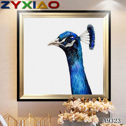 peacock canvas prints Canada - ZYXIAO Big Size Oil Painting Art animal purple peacock Home Decor on Canvas Modern Wall Art No Frame Print Poster picture A9323