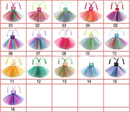 $enCountryForm.capitalKeyWord Australia - Cheap Baby Girls Strapless flower rainbow Tutu Dresses Children Pleated Mini Dancewear Children Princess Party Dress Kids clothes 16 colors
