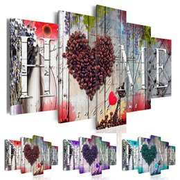 loving painting NZ - ( No Frame ) Home Coffee Beans Love Sweet Home Flower Design Canvas Print Modern Abstract Wall Art Painting Home Decoration Christmas Gift,