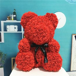 artificial valentines gifts Canada - wholesale 25cm Soap Foam Teddy Bear Rose Flower Doll Decoration Bear of Roses Artificial Valentines Day Gift for Girls Dropshipping