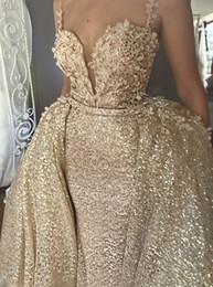 $enCountryForm.capitalKeyWord Canada - Sparkly Bling Bling Spaghetti Mermaid Sleeveless Elegant Wedding Gowns Custom Made Vintage Detachable Train Lace Applique Wedding Dresses
