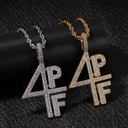 Venta al por mayor de Hip-hop 4PF carta digital cobre Zircon colgante hip-hop rendimiento rap DJ Chao hombre colgante collar envío gratis